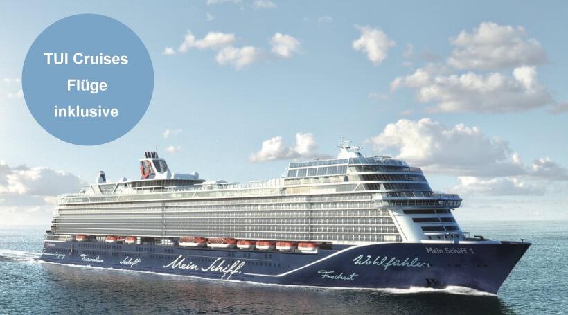 Kreuzfahrten mit Flug von TUI Cruises