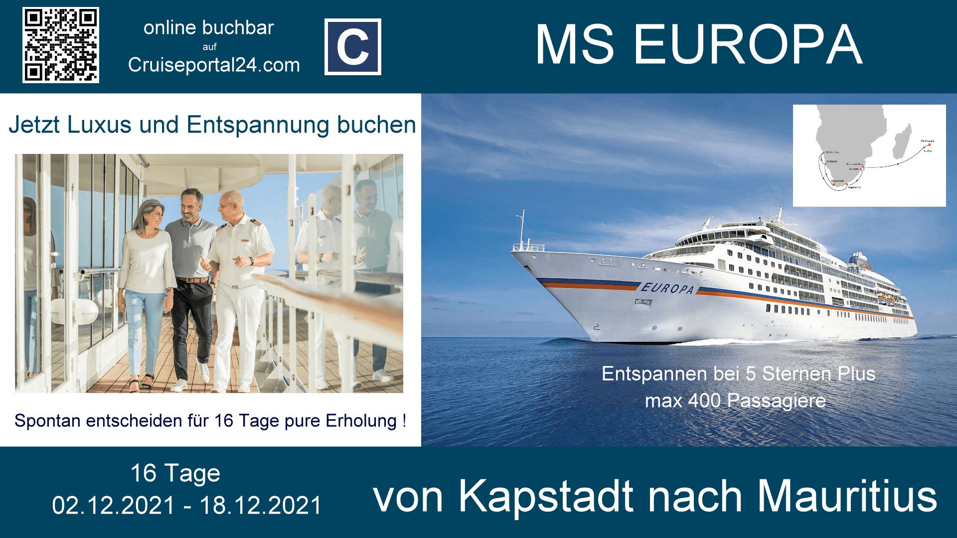 MS Europa 02.12.2021 16 Tage Von Südafrik nach Mauritus